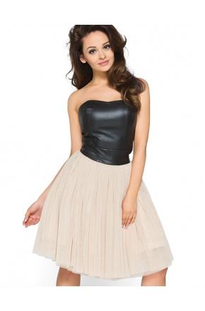 Tiulowa sukienka ze skórzanym gorsetem KM120