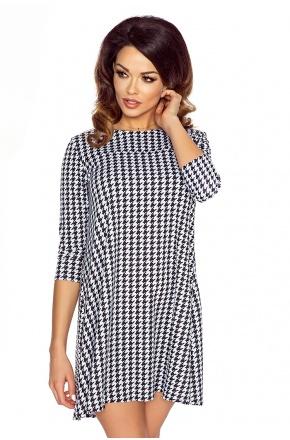 Sukienka tunika w kształcie litery A pepitka  KM119-1