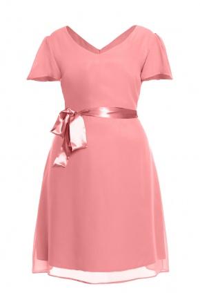 Romantyczna szyfonowa sukienka z paskiem KM05PS