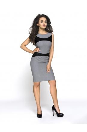 Sukienka ze wstawkami ze skóry KM149