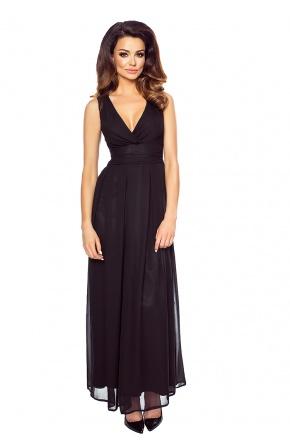 Wieczorowa suknia z szyfonu kopertowy dekolt KM150