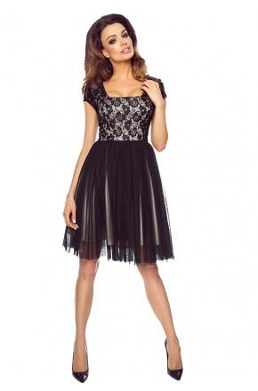 Tiulowa sukienka z krótkim rękawkiem i koronką KM171