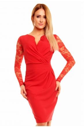 Sukienka z kopertowym dekoltem i koronką KM56K-2 czerwień