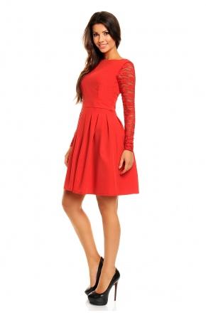 Urocza sukienka z koronkowymi rękawami KM158-1