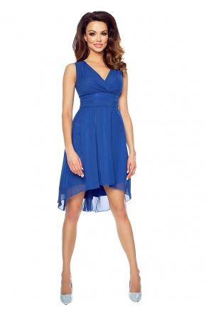 Asymetryczna sukienka z szyfonu kopertowy dekolt KM154-2