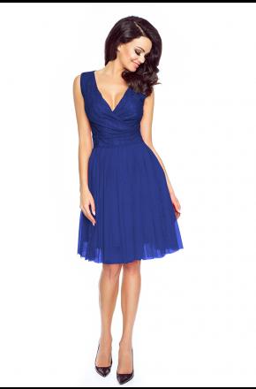 Tiulowa sukienka z koronkową górą KM141-3