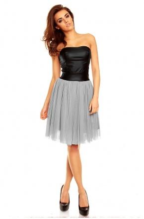 Tiulowa sukienka ze skórzanym gorsetem KM120-1