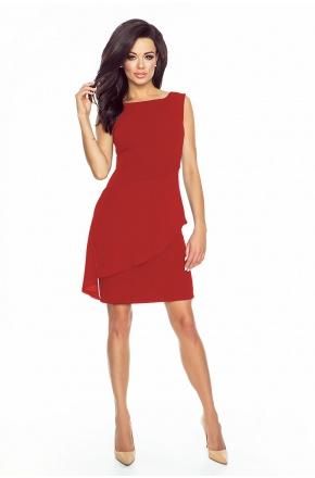 Sukienka z asymetryczną baskinką KM186-1