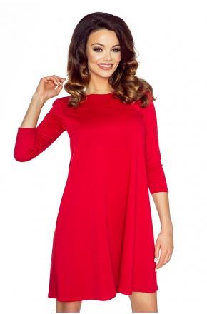 Sukienka tunika w kształcie litery A  KM119-3 czerwona
