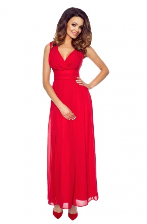 Wieczorowa suknia z szyfonu kopertowy dekolt KM150-1