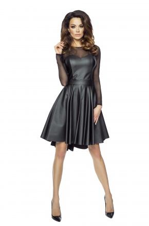 Skórzana sukienka z siateczką KM197