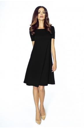 Trapezowa sukienka z krótkim rękawkiem KM203 czerń