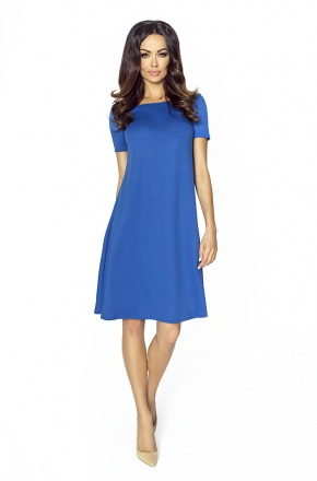 Trapezowa sukienka z krótkim rękawkiem KM203-2 CHABER
