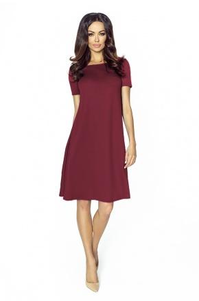 Trapezowa sukienka z krótkim rękawkiem KM203-4 BORDO