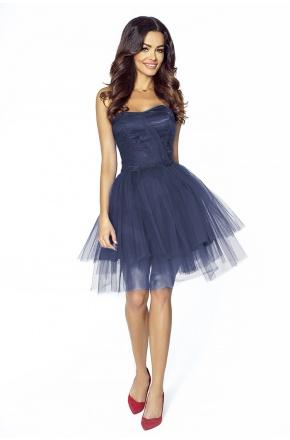 Zjawiskowa krótka sukienka z tiulu KM207-3 GRANAT