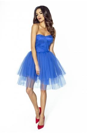 Zjawiskowa krótka sukienka z tiulu KM207-2 KOBALT