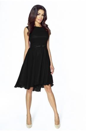 Koktajlowa sukienka z szyfonu z kokardą km208
