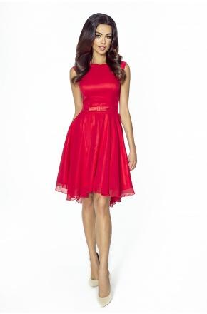 Koktajlowa sukienka z szyfonu z kokardą km208-1 CZERWIEŃ