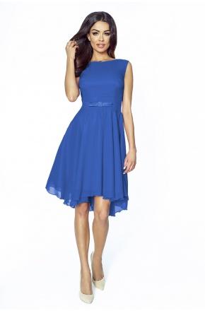 Koktajlowa sukienka z szyfonu z kokardą km208-2 CHABER