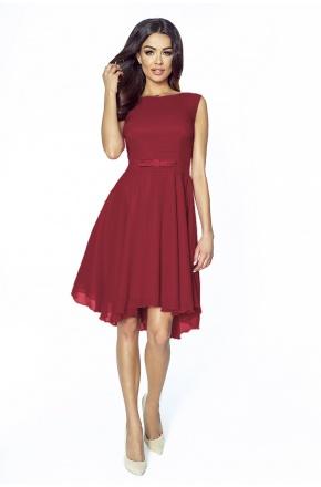Koktajlowa sukienka z szyfonu z kokardą km208-4 BORDO