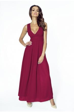 Wieczorowa suknia z szyfonu kopertowy dekolt KM150-4 BORDO