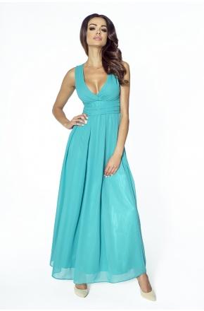 Wieczorowa suknia z szyfonu kopertowy dekolt KM150-5 ZIELEŃ