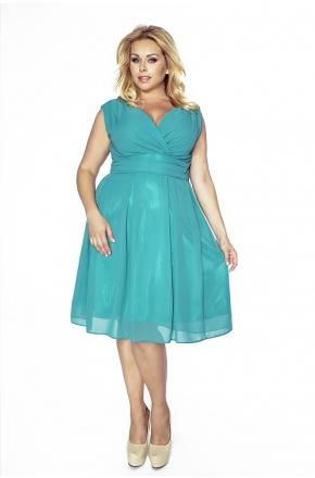Sukienka z szyfonu kopertowy dekolt KM117-6PS ZIELEŃ