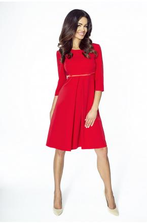 Elegancka trapezowa sukienka KM212-1 CZERWIEŃ