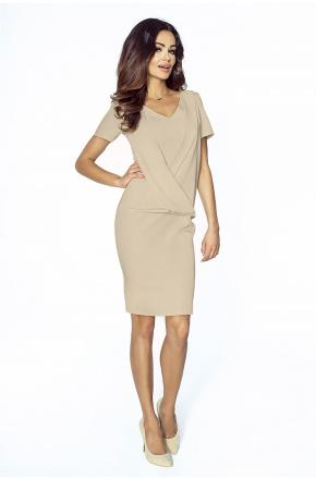 Klasyczna sukienka 2w1 KM217-4 Beż
