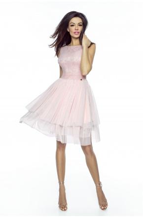 Bajeczna sukienka z tiulu i koronki KM224-4 jasny róż