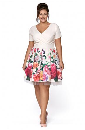 Rozkloszowana wizytowa sukienka w kwiaty km223-1ps 9c247c3f4f0