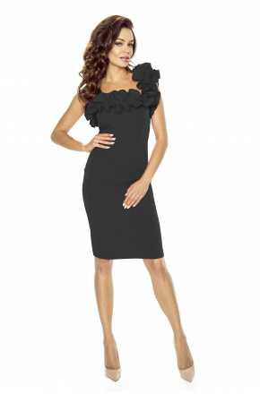 Asymetryczna sukienka z falbaną KM250