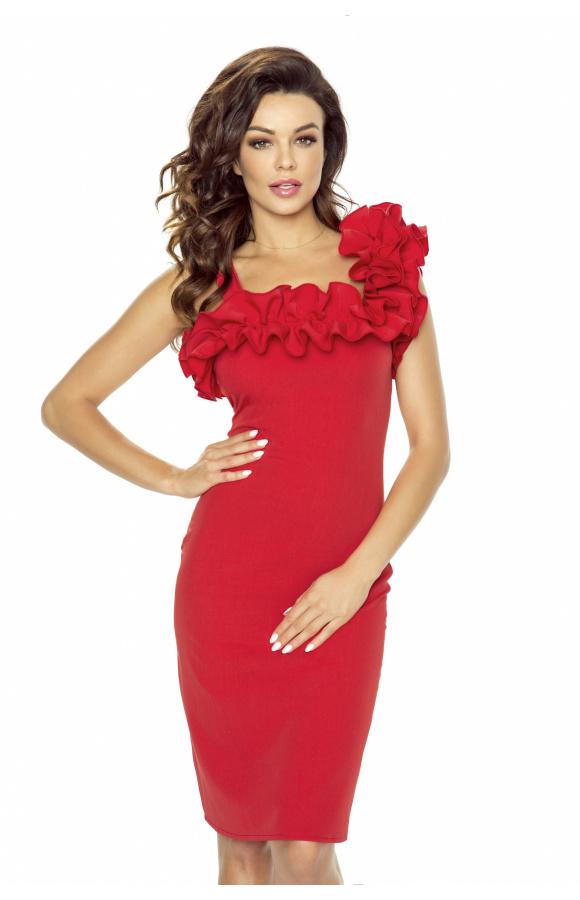 Eksponująca kobiecą sylwetkę sukienka mini z komfortowego poliestru.