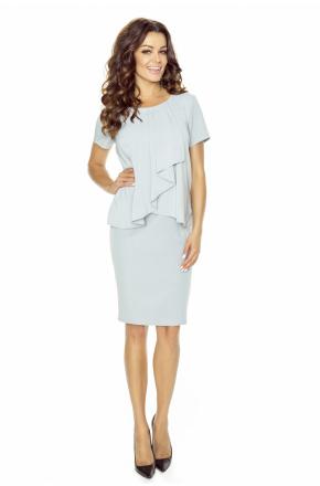 Elegancka sukienka z żabotem km216-5
