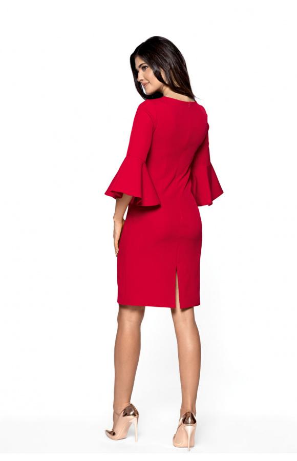 Sukienka podkreśla talię. Nadaje się jako kreacja wizytowa, imprezowa, weselna i nie tylko.
