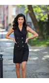 Elegancka sukienka marynarka, doskonała do pracy i do stylizacji półformalnych.