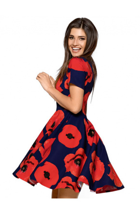 Rozkloszowana sukienka w maki KM254