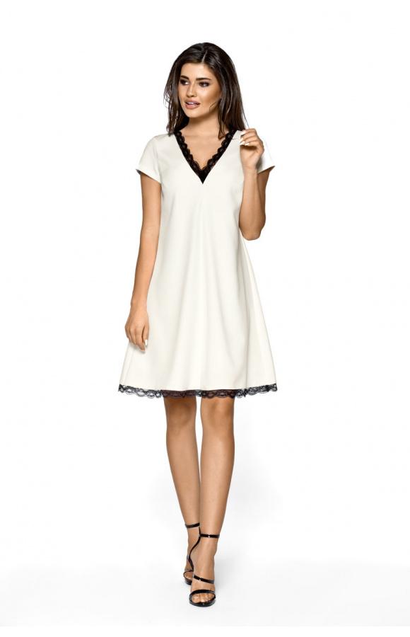 Trapezowa elegancka sukienka z koronką km262 3