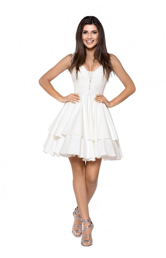 25f3b25ba8 Rozkloszowana sukienka z podwójnym dołem KM263-3 - ❤ Kartes-Moda ❤