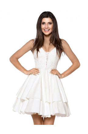 Rozkloszowana sukienka z podwójną falbaną KM264-3