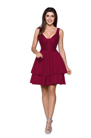 Rozkloszowana sukienka z podwójną falbaną KM263-4