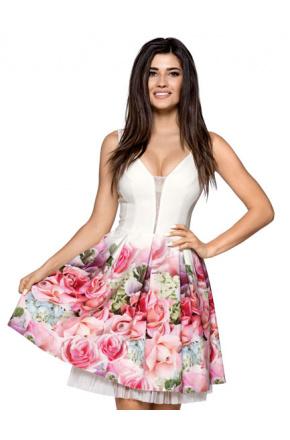 Kremowa sukienka z kwiatowym dołem KM264