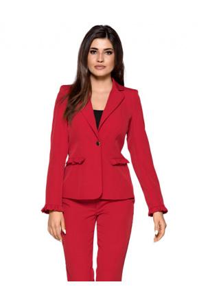 Elegancki garnitur damski z falbankami KM265-1
