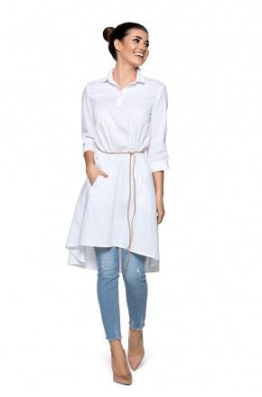 Biała sukienka/tunika z rzemykiem KM267