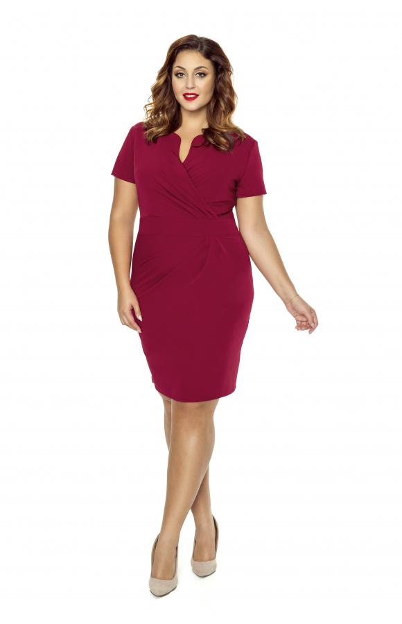 65783ee9f0 Elegancka sukienka z kopertowym dekoltem KM56-4PS - ❤ Kartes-Moda ❤