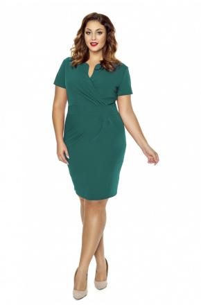 Zielona sukienka z kopertowym dekoltem km56-6ps