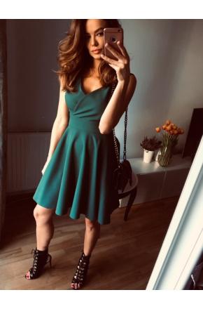 Seksowna asymetryczna sukienka z dekoltem KM155-5 ZIELEŃ