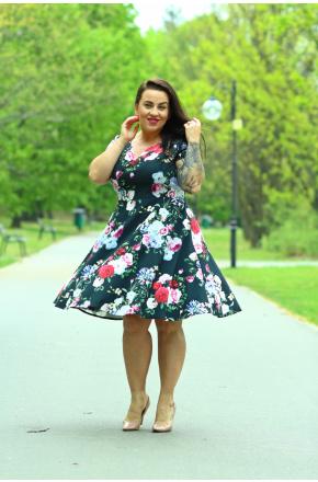 Rozkloszowana sukienka w kwiaty KM252PS