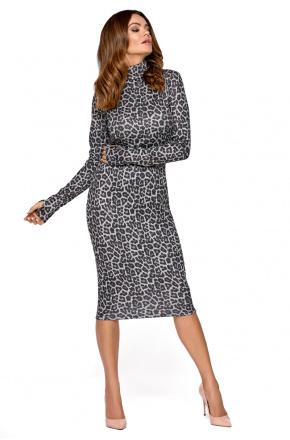 Szara sukienka w panterkę z golfem KM275-1