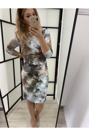 Klasyczna sukienka z zamkiem -print KM278-2